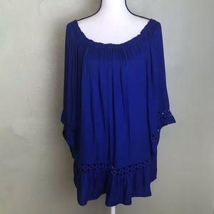 KC Khakis & Co Blue Crotchet Detailed Top Size L